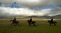 Three horsemen on the banks of Tso Moriri at nearly 16000 ft