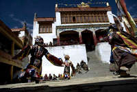 Chaam, the  masked monk dance, in the courtyard of Korzok monastery at Rupshu valley